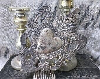 Ex-voto votive heart votive elaborately decorated vintage brocante antique shabby vintage