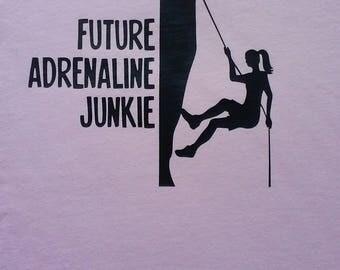 Future Adrenaline Junkie light pink childrens shirt, Rock climbing shirt, Light pink shirt, Infant Shirt, Children Shirt, Bodysuit