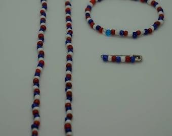 Patriotic Set - Necklace, Bracelet, Pin