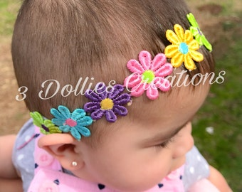 Flower Headband, Spring Colors
