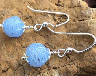 Vintage Periwinkle Spun Glass Earrings