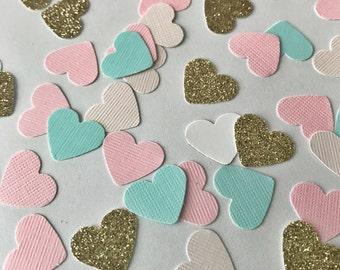 Heart Confetti, Glitter Heart Confetti, Tiny Heart Confetti, Gold Glitter Confetti, Bridal Party Confetti, Wedding Confetti, Confetti