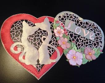 Valentina's Day *Loving Cats* Mat Table topper, Doily, Fabric Ornamental Mat,Clothing Ornamentation