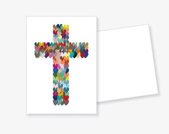 Postcard 'colorful cross'