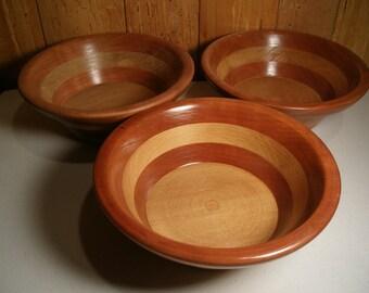 3 Wood Salad  Bowls  #48 free shipping