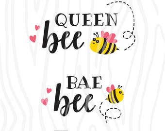 SVG / DXF - Twin Pack: Queen Bee + Bae Bee, Instant Download (Mommy and Me Vector Art / Saying)