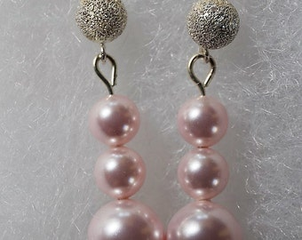 Swarovski Rosaline (Pink) Pearl Earrings c/w Sterling Silver Stardust Ball Posts/Gift/Women/All Occasion/Wedding/Bridal/Swarovski Pearls
