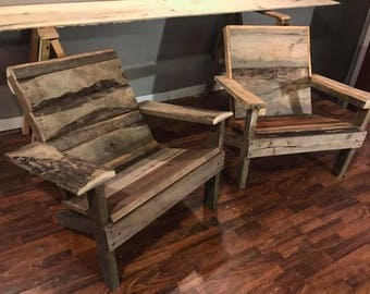 Rustic Milled Wood Adirondack Chairs
