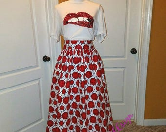 Ankara skirt, Maxi skirt, Ankara fabric, African fabric, African skirt, red white, Delta skirt, handmade skirt, wax fabric