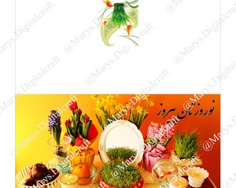 Nowruz  (norooz/noroz) persian new year greeting Card 2 -3sizes