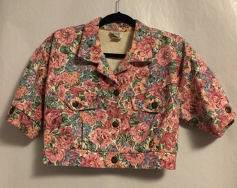 80's Vintage Flowered Crop Jacket