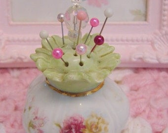 One of a kind vintage repurposed sweet little shabby chic style pin cushion.