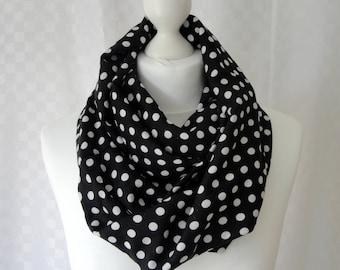 Polka dot infinity scarf, Circle scarf, Polka dot scarf, Scarf for her, Lightweight scarf, Fashion scarf