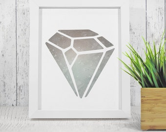 Diamond Wall Art Print, Gray Geometric Diamond art, Diamond poster, Jewel affice, Modern print - instant download