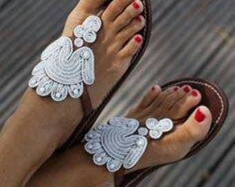 White Beads Sandals