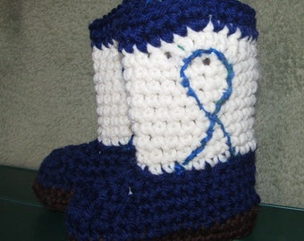 Blue and white Cowboy boots for baby