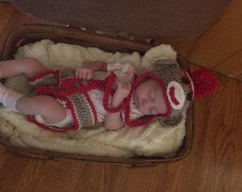 Sock Monkey Hat W/Diaper Cover, child photo prop, baby Halloween costume