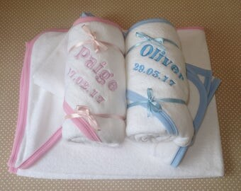 Personalised Embroidered Baby Hooded Towel - White with Pink  or Blue Trim