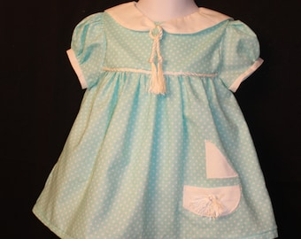Aqua polka dot dress Sailor collar Boat