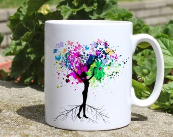 Woman Butterflies Tree mug - Art Mug - Colorful printed mug - Tee mug - Coffee Mug - Gift Idea
