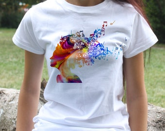 Music T-shirt - Woman Hair Tee - Fashion women's apparel - Colorful printed tee - Gift Idea