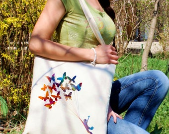 Butterfly balloons tote bag -  Flying man shoulder bag - Fashion canvas bag - Colorful printed market bag - Gift Idea