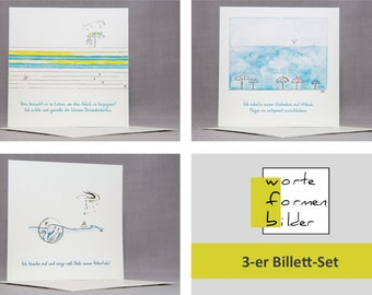 set of 3 greeting cards set, features - vacation - potentials