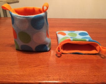 polkadot w/orange 2 piece pouch set