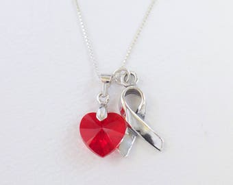 AIDS HIV Heart Disease Stroke Awareness Necklace - Red Awareness Heart, Sterling Silver Ribbon Swarovski Heart