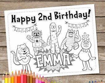 Yo Gabba Coloring Pages Birthday Party Favor 6 Digital