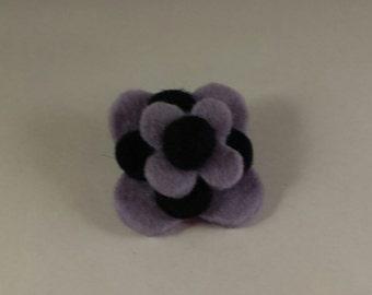 Brooch, purple, black, felt brooch pin brooch, black and purple, handmade brooch