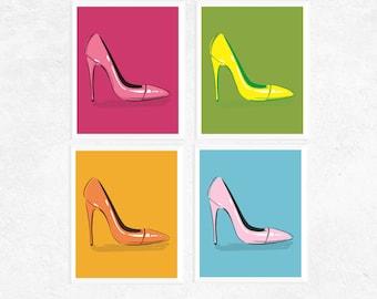 50% Off Sale - Pop Art Shoes Art Printables | 4 Set | Pink, Blue Green & Yellow | Pop Art | Fun Art | Contemporary Art | Art Printables