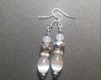 Gray and Silver Shimmer Dangle Earrings
