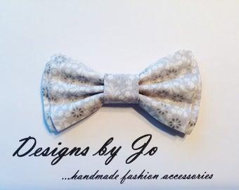 Mens Bow Tie, Formal Bow Tie, Suit Bowtie, Grey Floral, Prom Bow Tie, Wedding Bow Tie, Mens Fashion Accessories, Bow Tie, Mens Bowtie  M680