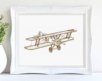 Plane Print, Biplane Print, Vintage Travel Print, Sepia Tone, Boys Bedroom, Adventure Art, Digital Print, Instant Download, Printable Art