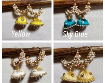 Jhoomar Earrings in Blue, Yellow, White