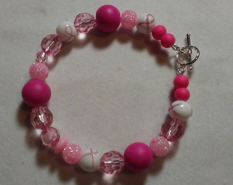 Fight like a girl breast cancer bracelet daretodazzlcreations