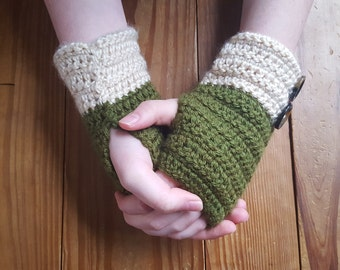 Handmade Crochet Finergless Gloves with Buttons - Green/Olive - Custom Women's Gloves and Arm Warmers