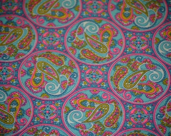 MCM Flair Hot Pink & Purple Paisley 50's 60's Fun Fabric by the Yard