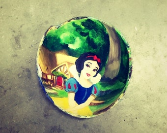 Beautiful snow white oil painting on coconut