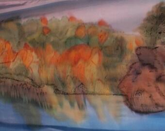 """Silk painting. Unique.  """"September"""". Scarf. Crepe de chine. 250 x 90 cm"""