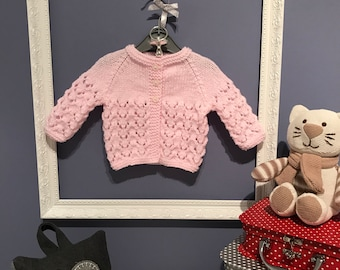 Hand Knitted Baby Girl Cardigan - Made to Order