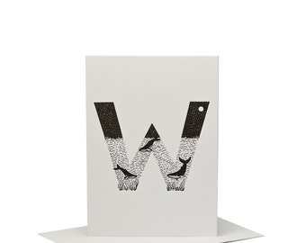 W for Whale - Letterpress Print