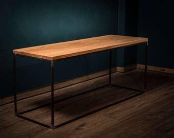 Janine - solid wood coffee table oak steel frame