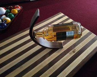 Wine Bottle display - holder - Can be used with liqueurs and elongated bottles. Solid Wood