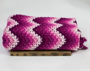 """Vintage pink afghan, 63"""" x 34"""", ombre chevron"""