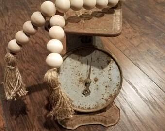 Wood bead garland. Farmhouse decor beads. Natural wood bead garland.
