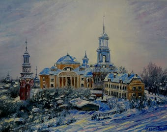 blue oil original painting Winter landscape morning snow russian province
