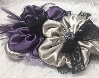Silver and Dark Purple Flower Pin, Fabric Flower Corsage, Satin Flower Accessory