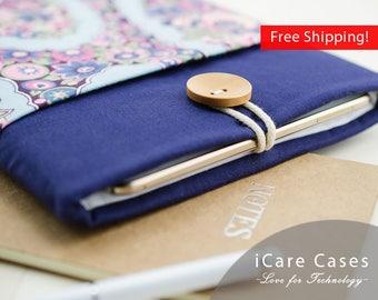 iPad Sleeve iPad Protective Case Apple iPad Sleeve New iPad 9.7 2017 Case 10 iPad Blue Navy Floral Damask Pattern Romantic Gift Cute Sleeve